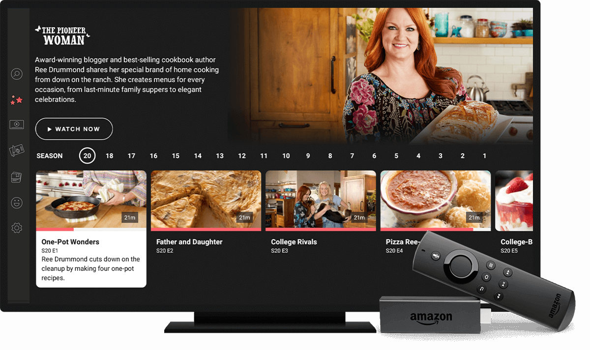 Photo of TV with Food Network Kitchen App running on Fire TV