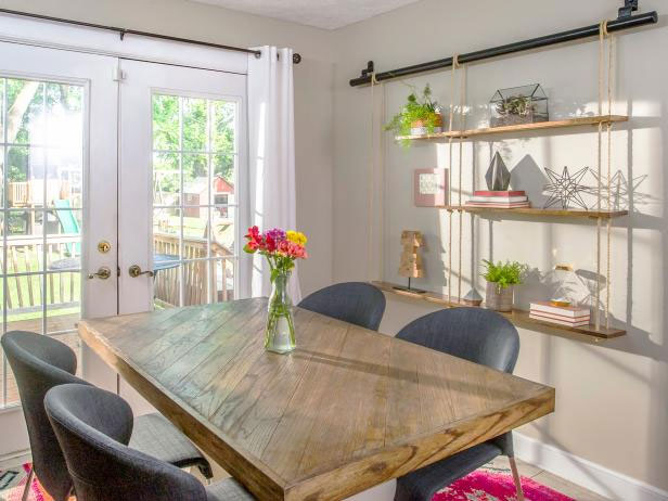 Dining Room Table With Hardwood Flooring
